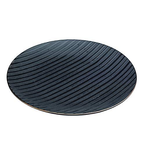 Zafferano Black Stone - Porzellanteller, Durchmesser 265 mm, Farbe Schwarz/Goldrand, spülmaschinengeeignet - Set 2 Stück