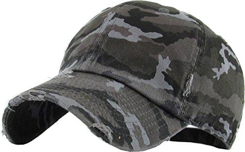 Distressed Dad Hat Vintage Low Profile Baseball Cap - Black Camo
