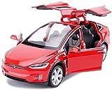 Zixin Model Car, 01:32 Tesla Model X90 SUV Modello di Auto con luci e Suoni Auto Pullback Simulazione Lega pressofusa Toy Car Ornamenti Collezione di Gioielli (Colore: Bianco) (Color : Red)
