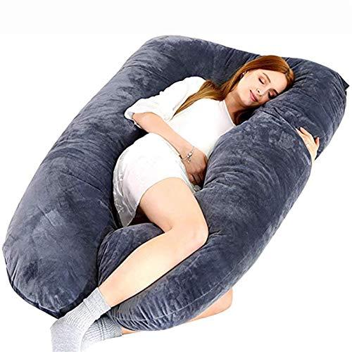 XiuLi Almohada de Embarazo, Almohada de Maternidad para el Cuerpo con Funda extraíble, para Dormir de Lado y Caderas traseras, piernas, Soporte para el Vientre para Mujeres Embarazadas 70x130cm