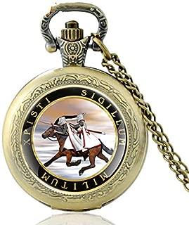 Vintage Bronce Caballero Templario Cuarzo Bolsillo Reloj Retro Hombres Xpisti Sigillum Militum Joyería Collar