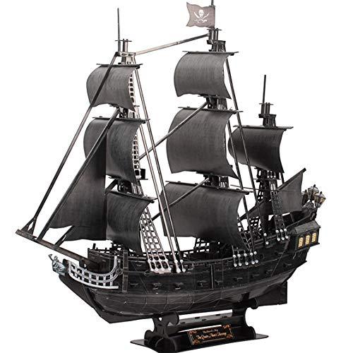 3D Juego Barco Pirata Rompecabezas, Juguete del Rompecabezas Juego De Puzzle, Kit De Modelo De Barco Pirata Bricolaje (con Luces LED) Regalos De Cumpleaños Juguetes Y Recuerdos para Adultos Y Niños