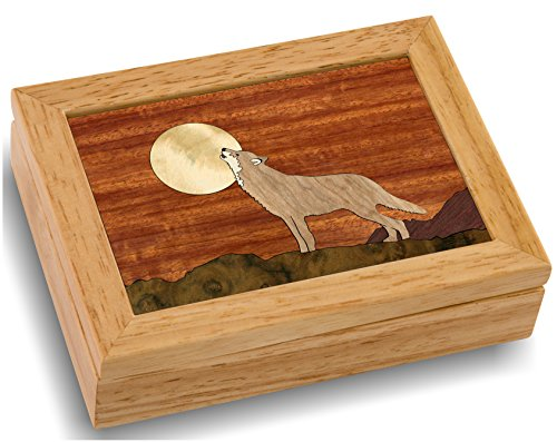 Wood Art Wolf Box - Handmade in USA - Unmatched Quality - Unique, No Two are the Same - Original Work of Wood Art. A Wolf Gift, Ring, Trinket or Wood Jewelry Box (#4117 Howling at the Moon 4x5x1.5)