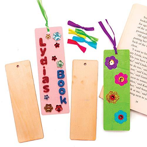 Baker Ross Lesezeichen Rohlinge aus Holz - Bastelset für Kinder (10 Stück)