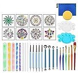 Wuudi 35 Kit Herramientas de puntería Mandala Stencil Brush Set Pincel sobre Dibujo de Pintura de Piedra