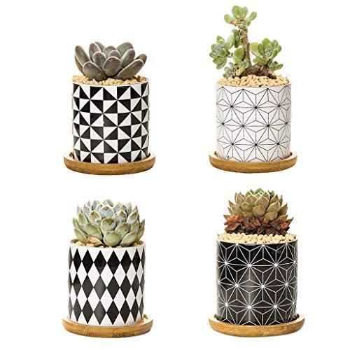 MEIBAOGE Macetas de Plantas suculentas, Maceta de cerámica cilíndrica para Cactus, Planta suculenta, Soporte de Almacenamiento, como Muestra la Imagen