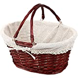 KINJOEK Wicker Woven Basket, Multipurpose Natural Willow Basket with Handle Premium Linen Cotton Cloth Lining for Storage and Decoration, Brown