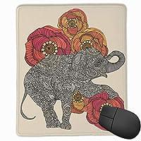 マウスパッド象の隣の花 マウスパッドゲーミングマウスパッド大型ゲーミング滑り止めハイエンド流行のファッション防水耐久性滑り止めラバーボトム 25*30cm