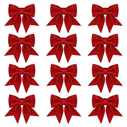 Whaline 12 x Weihnachtsschleifen, Dekorationen, für Kränze, kleine Weihnachtsbaumschleife, Pailletten-Fliege, Weihnachtsdekorationsschleifen für Zuhause, Weihnachtsfeier, 14 cm