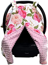 Dear Baby Gear Deluxe Carseat Canopy Cover, Custom Minky Print Roses are Pink, Pink Minky Dot