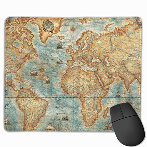 SHruizhuo Vintage World Map Gaming Mouse Pad,Antique Art Design Rectangle Non-Slip Rubber Mouse Pads Cute Mat for Office