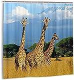 Duschvorhang Giraffe Wild Animal Wasserdichter Stoff-Badevorhang für Badezimmer72 x 72 Zoll