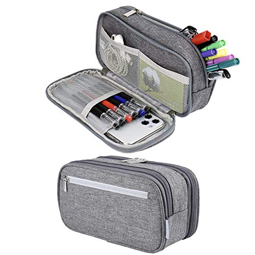 Pencil Case, Large Capacity Pencil Bag Pouch Pen Case Makeup Bag Stationery Desk Organizer with Zipper Compartments for Boys Girls Middle High School & Office Supplies (Grey)
