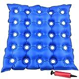 Kitchen-dream Cojín de Asiento Inflable, Cojín inflable de aire de PVC 2pcs, cojín de asiento de silla de ruedas médica antiescaras para decúbito con bomba para sentado prolongado, azul