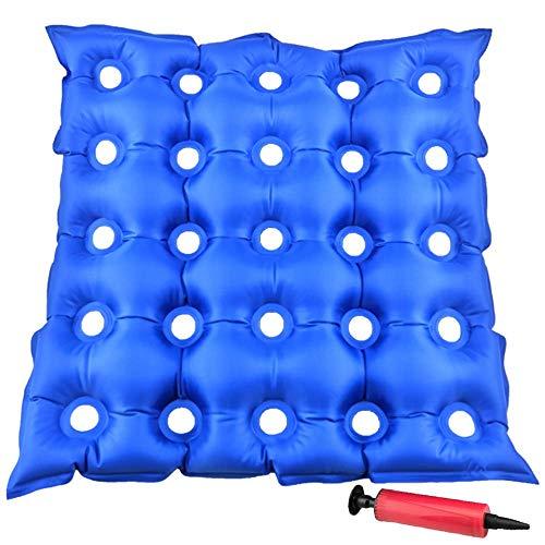 Kitchen-dream Aufblasbares Sitzkissen 2 Stück PVC Medical Rollstuhl Luftkissen Anti Decubitus Rollstuhl Sitzkissen Air Sitzmatte für längeres Sitzen Luft aufblasbares Kissen mit Pumpe blau