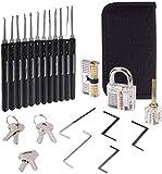 Dietrich Set, 24 Stück Lock Picking Set mit 3 Transparenttem Vorhängeschloss Dietrichen Kit für Anfänger und...