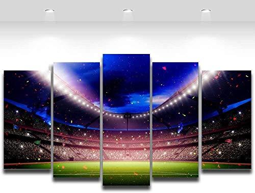 SUYFJJM Modular Wall Sticker Decor, 5-Delad Målning, Väggmålning, Hd-Tryck, ?B? - 150X80Cm 5 Paneler Fotboll Lekplats Målning För Vardagsrum Fotboll Fläkt Heminredning Väggkonst Kanvas Tryck