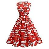 SHOBDW Mujer Vestido de Navidad Regalo Caramelo Papá Noel Estampado Pin Up Columpio Vestido de Encaje Vestido de Noche Panel de Fiesta Mini Vestido Más tamaño Vestido Vintage 50 s(Rojo-2,Large)