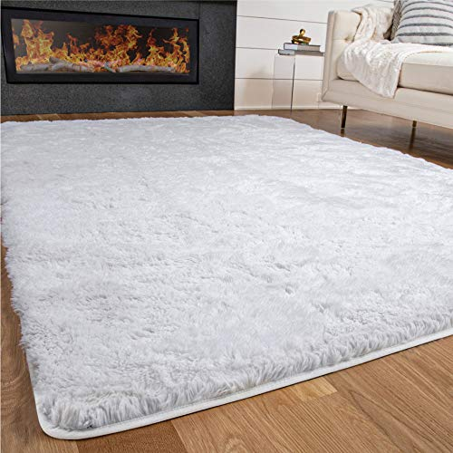 Gorilla Grip Premium Fluffy Area Rug 3x5 Feet, Super Soft High Pile Shag Carpet, Washable Indoor Modern Rugs for Floor, Luxury Home Decor Accent Carpets for Nursery, Bedroom, Living Room, Bright White