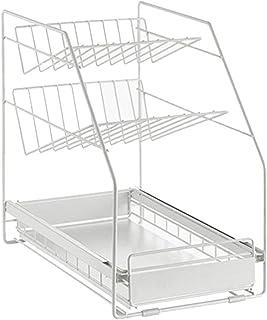 シンク下 スライドラック3段 多機能のキッチン収納 スライド式 ステンレス棚 スパイスラック バスラック 浴室 タワー おしゃれ 40x25x39cm 白