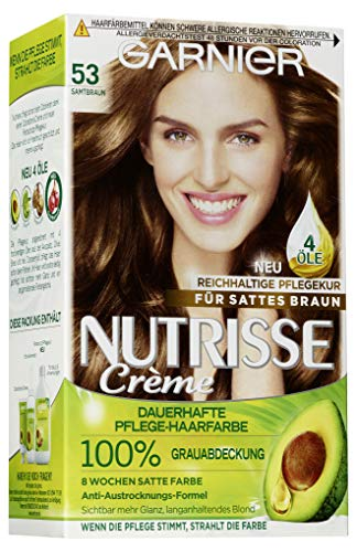 Garnier Nutrisse Creme Pflegende Intensiv-Coloration, 053 Samtbraun, 1er Pack
