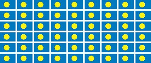 Mini Aufkleber Set - Pack glatt - 20x12mm - Sticker - Palau - Flagge-Banner-Standarte fürs Auto, Büro, zu Hause & die Schule - 54 Stück