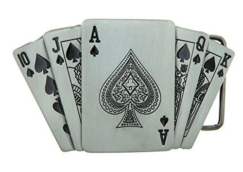 Royal Straight Flush Poker Cards Lighter Holder Belt Buckle