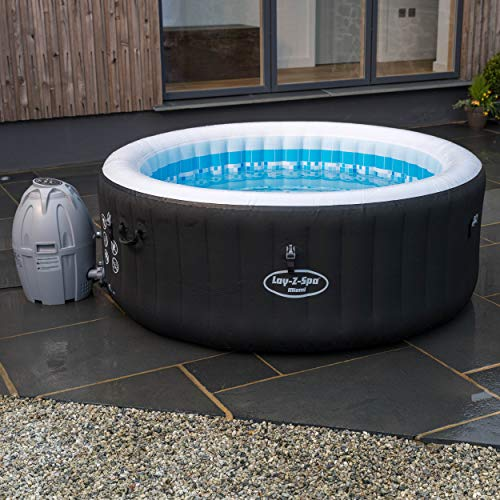 Lay-Z-Spa 54123-BNNX16AB02 Miami Hot Tub, Airjet Inflatable Spa, 2-4 Person - Black