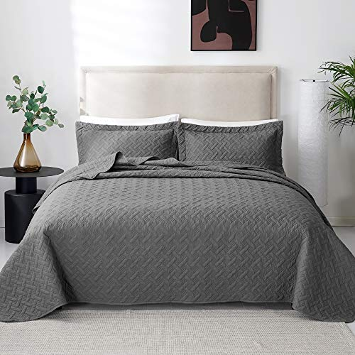 Love's cabin Fall Quilt Set Full/Queen Size (90x96 inches) Grey - Basket Pattern Lightweight Bedspread - Soft Microfiber Coverlet for All Season - 3 Piece (1 Quilt, 2 Shams)