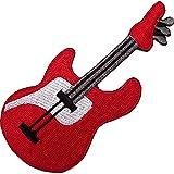 Parche bordado con diseño de guitarra eléctrica roja, para parchar/coser