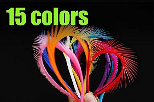 Gänsefedern zum Angeln, stachelige Fasern, Steinfliegen/Nymphenschwänze, Bindematerial zum Fliegenfischen, 60 Stück, 15 Farben