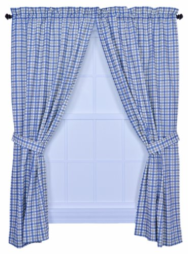 Ellis Curtain Bristol Collection Two-Tone Plaid 68 by 63-Inch Tailored Panel Pair Curtains with Tiebacks, Blue