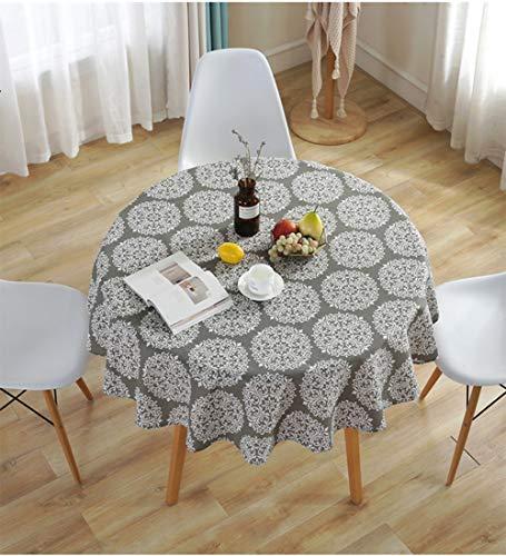 Meiosuns Mantel Redondo Gris Retro Mantel De Lino De Algodón Mantel Adecuado para La Decoración De La Cocina Casera Varios Tamaños (Diámetro 120cm)