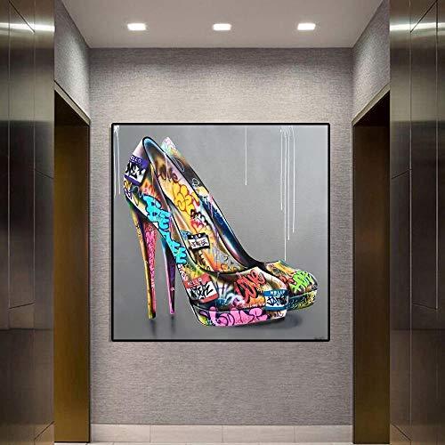 CloudShang Graffiti Arte Alta Talones Zapatos Poster Pinturas Pop Arte Poster Graffiti...