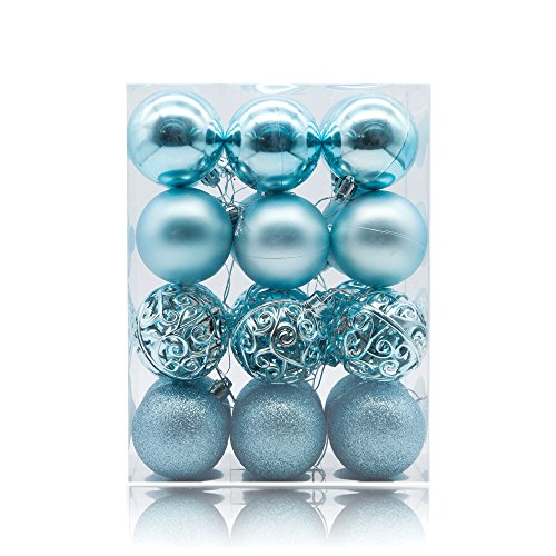 AMS 60mm/24ct Christmas Ball Pierced Trees Pendant Shatterproof Ball Ornament Seasonal Decorations Ideal for Xmas, Holiday and Party Widgets (2.36'', Light Blue)