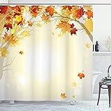 ABAKUHAUS Otoño Cortina de Baño, Hojas de otoño y árbol, Material Resistente al Agua Durable Estampa Digital, 175 x 180 cm, Multicolor