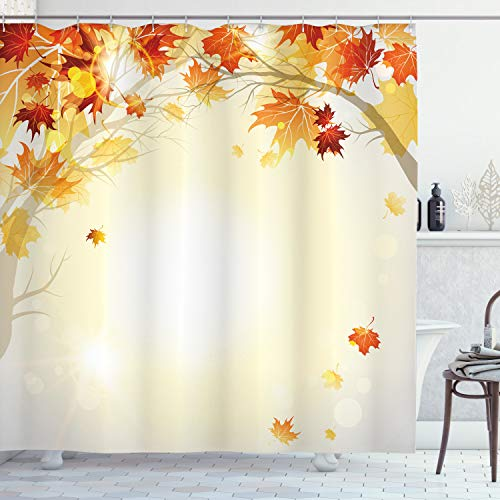 ABAKUHAUS Fallen Duschvorhang, Herbst-Blätter & Baum, Hochwertig mit 12 Haken Set Leicht zu pflegen Farbfest Wasser Bakterie Resistent, 175 x 180 cm, Multicolor
