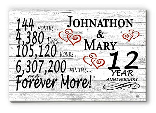 Broad Bay Personalized 12 Year Anniversary Sign Gift Twelfth Wedding Anniversary 12th for Couple Him Or Her Days Minutes Years