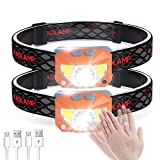 E-thinker USB Rechargeable Head Torch, Ultralight Induction LED Headlamp with 8 Modes and SOS Red Light,Waterproof Headlight for Kids Adults Runner Walking or Camping Hiking Fishing (2 Pack) (Orange)