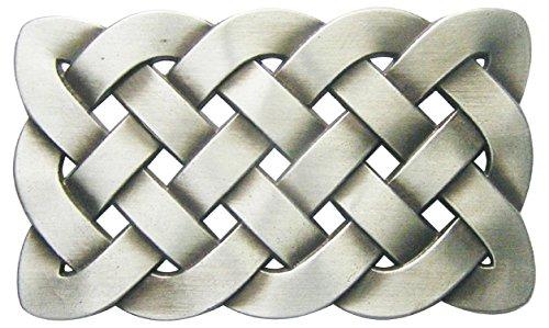 Spirit of Isis B55 Buckle Gürtelschnalle Celtic Knot Keltischer Knoten, Weiß, 5,8cm x 10cm