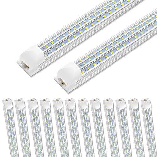 12 Pack SHOPLED 8ft LED Shop Light, 90W 10800LM 6000K, Cool White, Triple Sided D Shape, High Output, T8 Integrated LED Tube Light, Warehouse, Workshop