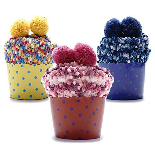 MAGIMODAC Cupcakes Flauschige Socken Kuschelsocken Hausschuhsocken Damen Mädchen Socken Weihnachten mit Geschenk Etui 1/2/3 Paar (Gelb+Dunkelblau+Rosa(3Paar))