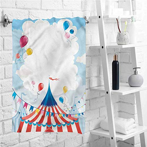 W 7.9 X L 3.6 inch Highly Water Absorbent Hotel Bathroom Towel,Circus Day Canvas Tent,Outdoor Travel Bath Towel,Best Lightweight Towel for The Swimming,Sports,Beach