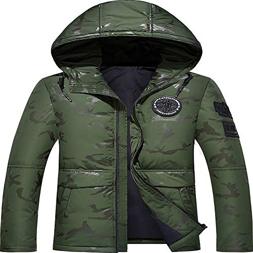 Heren Winterjas Camouflage Hooded Ultra-Lichtgewicht Fleece Winddichte ski Jas en Mode Casual Dikke Jas Winter Warm