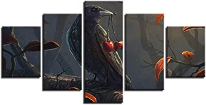 YHEGV Wall Feeling Arts 5 Panels In Canvas Hd Modular Art Canvas Art Standing Bird On Tree Branch And Cherry Night Scene Painting Poster Decor Decor-A