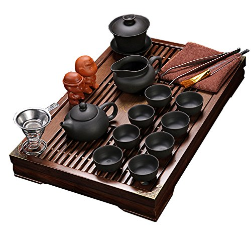 ufengke Pure Black Zisha Tea Set,Chinese Yixing Purple Clay Kung Fu Tea Set With Wood Tea Tray,For Household Office