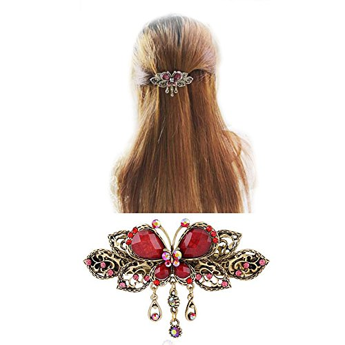 ヘアアクセサリーバタフライバレッタおしゃれ蝶髪飾り髪留めヘアピン結婚式パーティー(B)