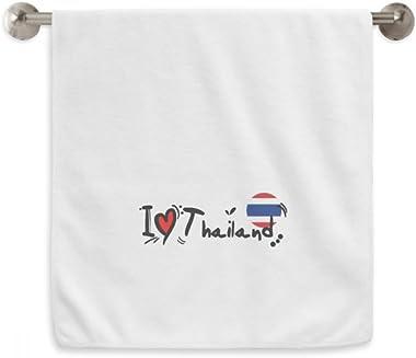 DIYthinker I Love Thailand Word Flag Love Heart Illustration Circlet White Towels Soft Towel Washcloth 13X29 Inch