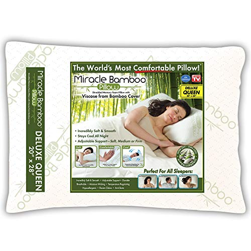Ontel MBPF-MC6/2 Miracle Shredded Memory Foam Pillow with Viscose from Bamboo Cover, Queen, White