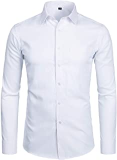 ZEROYAA Men's Long Sleeve Dress Shirt Solid Slim Fit Casual Business Formal Button Up Shirts with Pocket